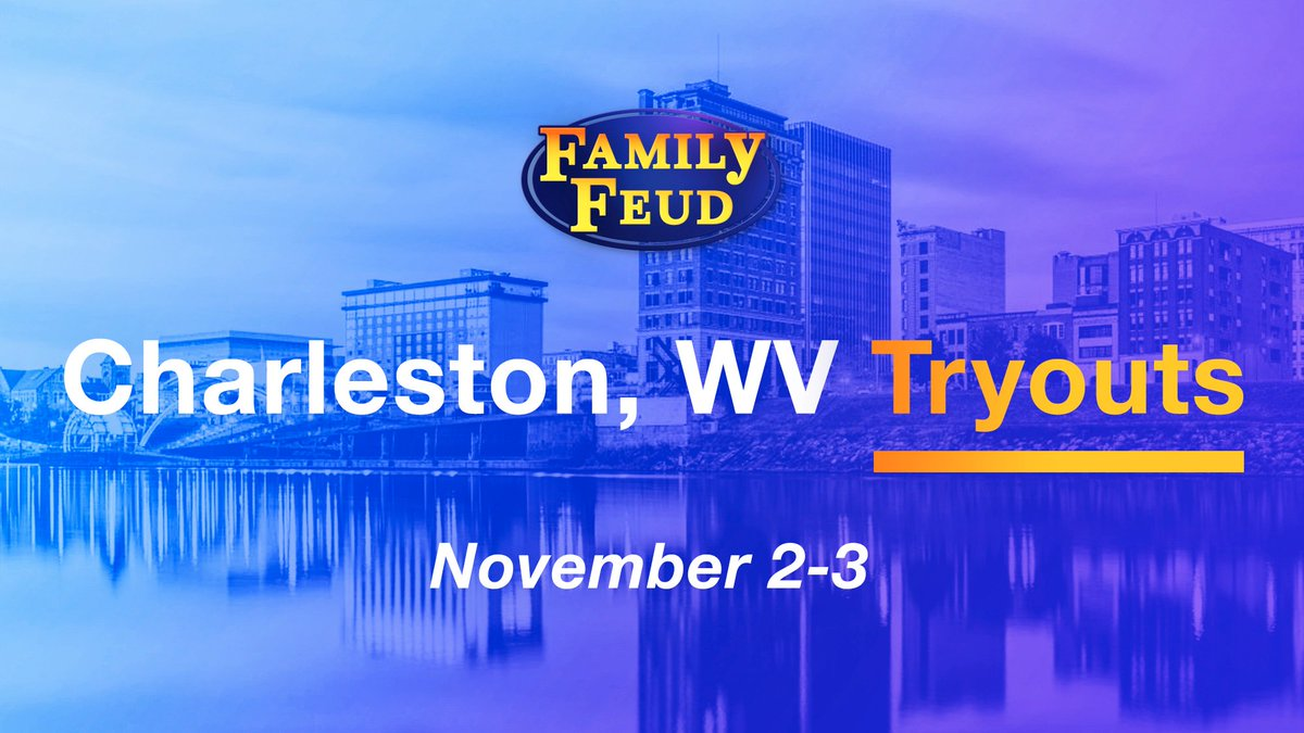 Audition for #FamilyFeud with your family in Charleston, WV on November 2 & 3 for a chance to win up to $100,000 and a brand new car!!! 🎥💰🚘 Visit FamilyFeud.com/Audition to APPLY!!! #SteveHarvey