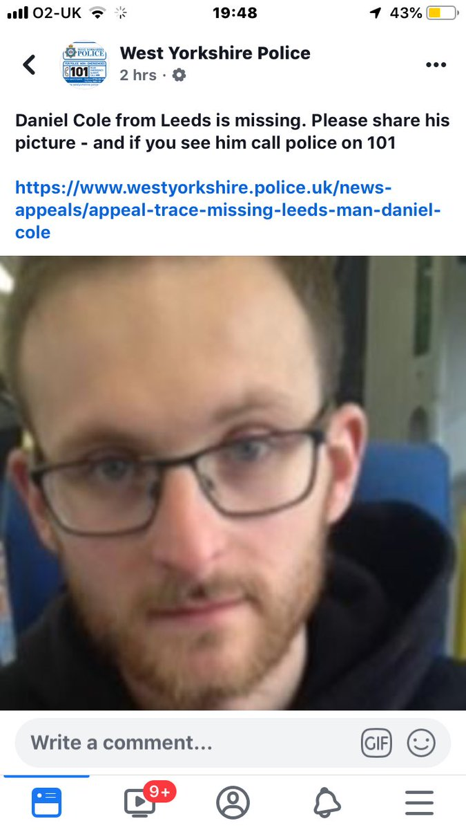Missing Leeds lad, last seen apperly bridge, he has a little girl and she'll no doubt be missing him he's a Fellow #lufc supporter so please RT and message me or @ChrisCole186 if anyone sees him #MissingPerson <br>http://pic.twitter.com/FVcPTojMDv