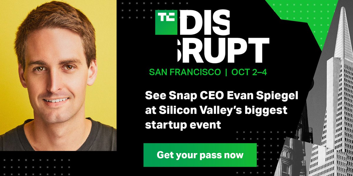 I'll be interviewing Snapchat CEO Evan Spiegel on stage Oct 4th at TechCrunch Disrupt SF. Here's a special 20%-off ticket link. What should I ask him? 3/ https://techcrunch.com/events/disrupt-sf-2019/tickets/?ref=staffdiscount&unii-trigger-open=MJ9SC8&unii-discount-code=TCSTAFFPASS20…
