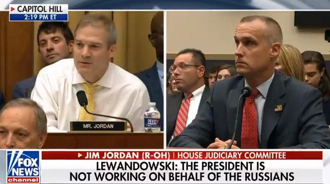 .@CLewandowski_ worked with the Trump campaign for nearly 2 years. He testified they did not collude or coordinate with Russia. Sounds familiar.   James Comey, sitting at the same table as Lewandowski: same answer.  Bob Mueller: same table, same answer.  Time to move on.