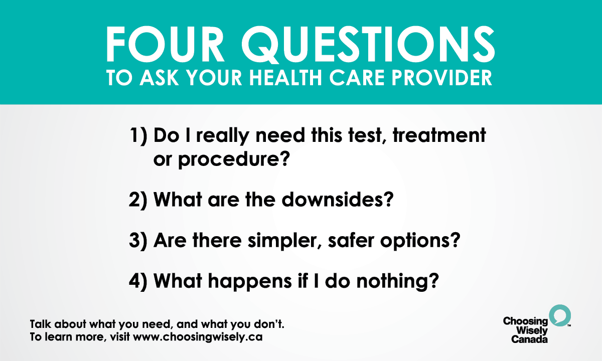 Not sure what to ask when it comes to having a conversation with clinicians about unnecessary tests and treatments? Take a screenshot, print out or look for posters of the #choosingwisely 4 questions to use at your next appointment! #WorldPatientSafetyDay