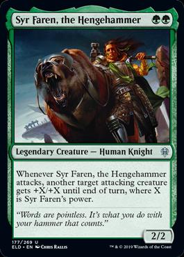 The green uncommon legendary knight isnt five mana... But its a bear-riding bear. More previews at mtgpreviews.com #MTGEldraine Source: reddit.com/r/magicTCG/com… 🎨: @ChrisRallis_Art