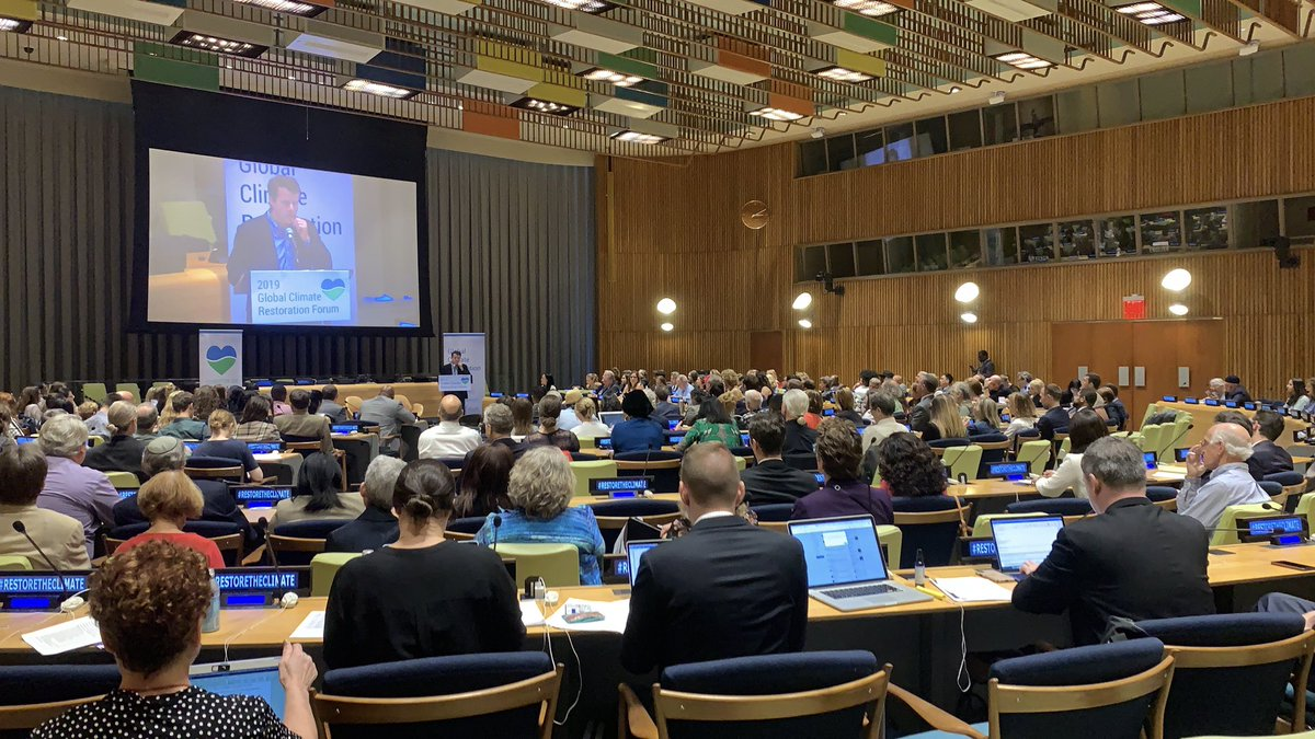 Packed room at the @UN for the 1st annual Global Climate Restoration forum! #RestoreTheClimate