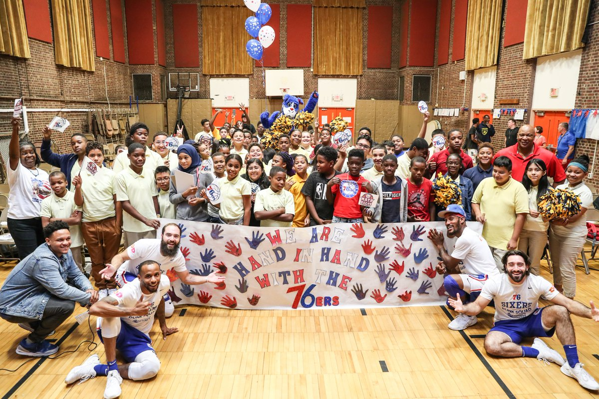 Today, the @sixers tipped-off the 2019-20 academic year at Camden's @YorkshipFamily School.   76ers legend World B. Free spoke to the school's more than 4⃣5⃣0⃣ students about the importance of their academic careers and encouraged them to strive for a perfect attendance record!