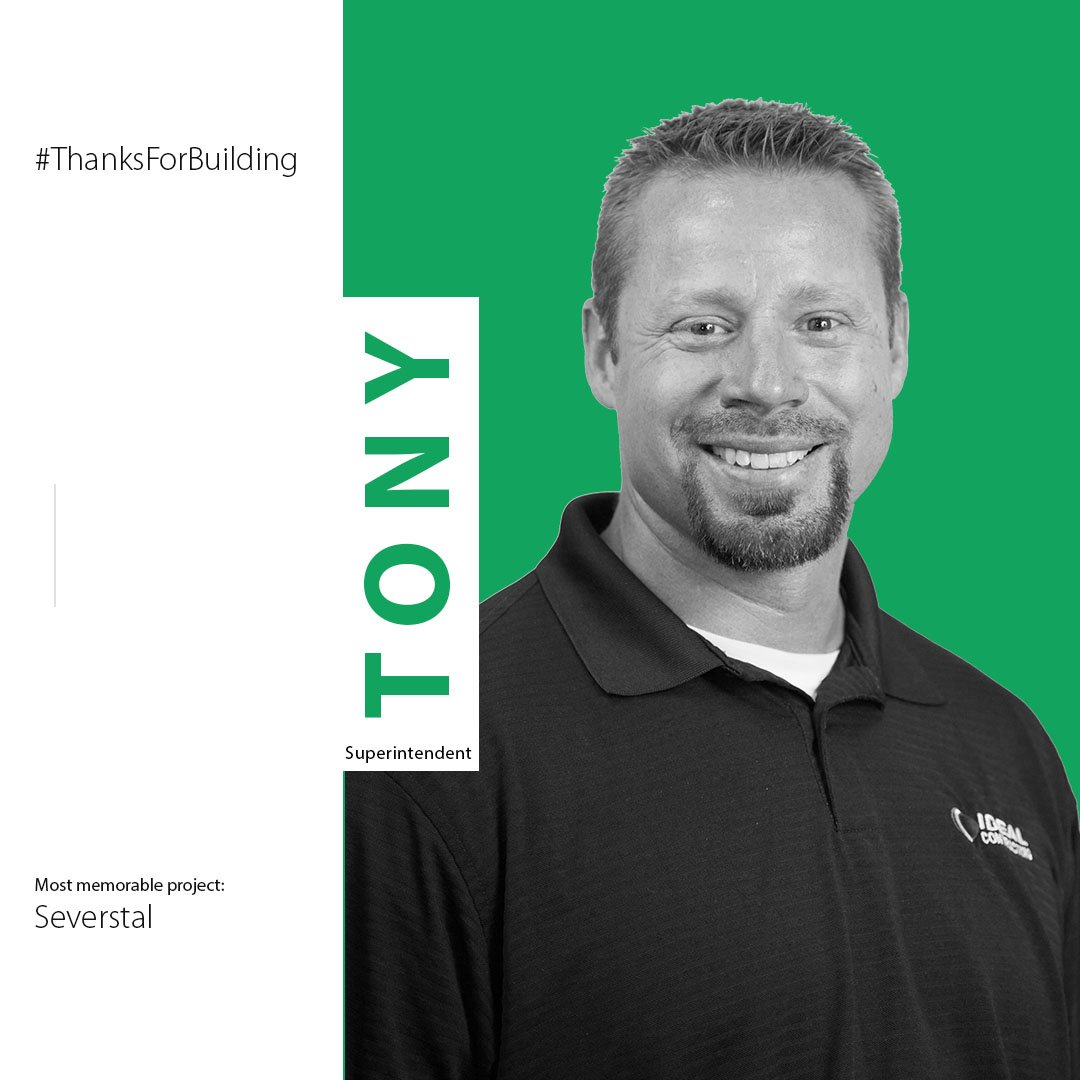 "test Twitter Media - Meet Tony Poma! Tony's most memorable project is a large Severstal project. ""The Severstal project marked the beginning of my career as a Superintendent at Ideal. It was a very successful project that had a large amount of manpower.""   #ThanksForBuilding #ConstructionAppreciation https://t.co/Ph1CJyJmao"