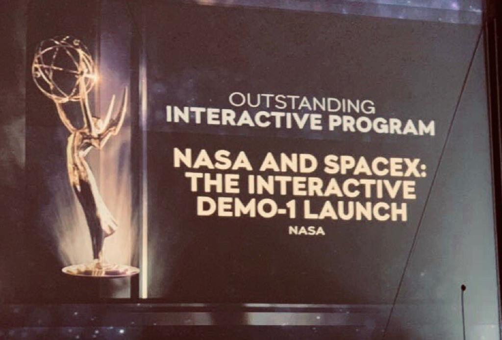 This week, teams @NASAKennedy and @NASAJPL brought home two –thats right, 🏆🏆–Outstanding Interactive Program #Emmys for multimedia coverage of the SpaceX Demonstration Mission-1 and Mars InSight, respectively→go.nasa.gov/2Nm98ju