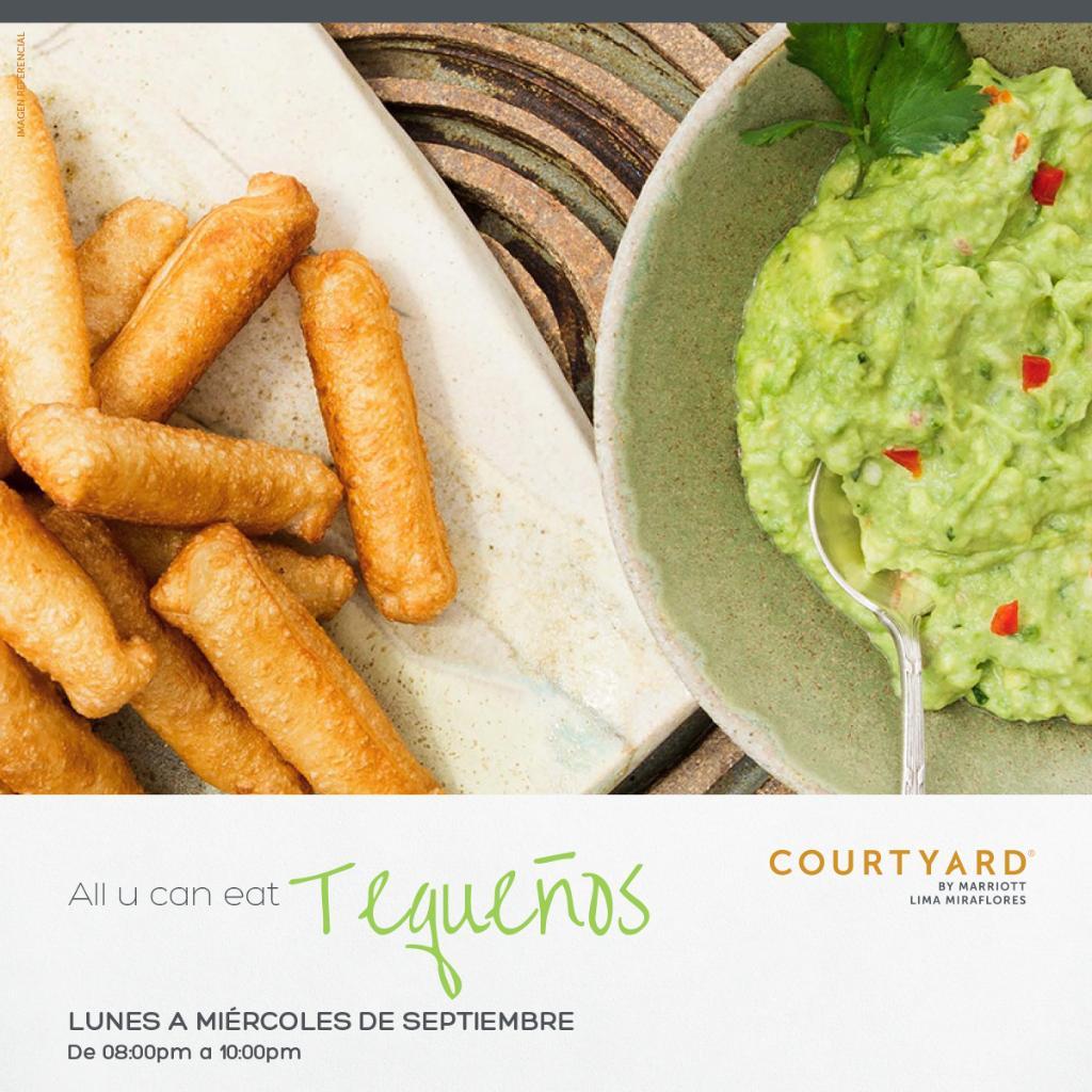 ALL U CAN EAT DE TEQUEÑOS en el #CourtyardMiraflores 😜 😜  Horario: Lunes a Miércoles de 8:00 pm a 10:00pm Más información: https://t.co/gmezbkC1GK https://t.co/MyYY15k4Yn