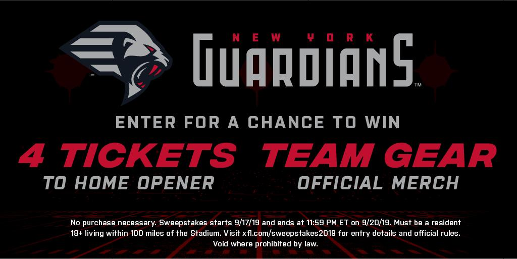 Repping your #XFLGuardians gear yet? Enter for a chance to win gear and home opener tickets. Enter here: bit.ly/2k504Tj [Rules on image below]