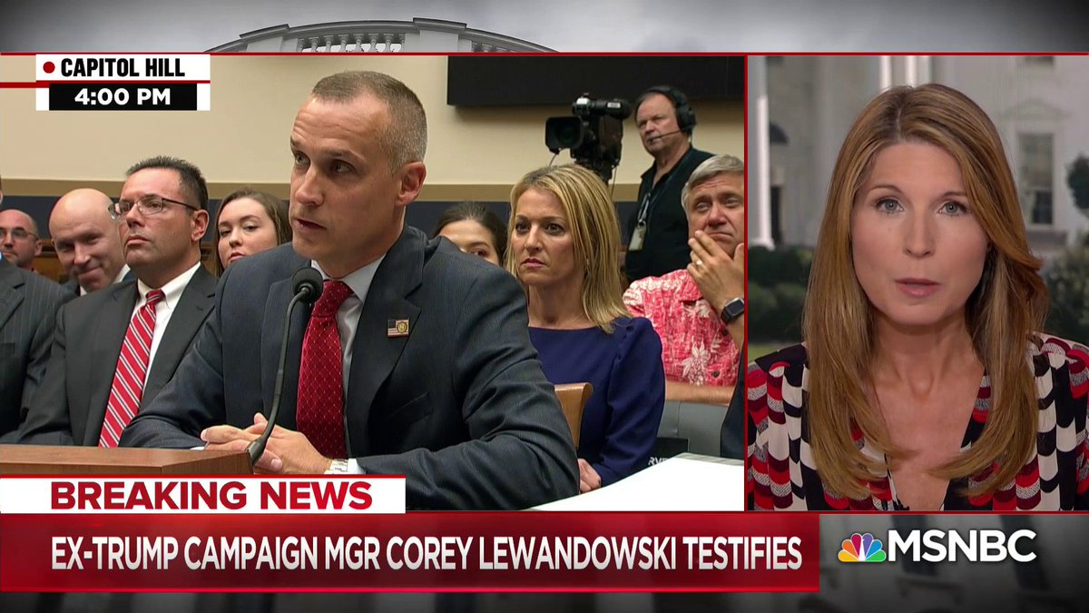 """The president's first campaign manager is on Capitol Hill preening for an audience of one. Corey Lewandowski in front of the House Judiciary Committee... And the president liked what he saw from Lewandowski, live-tweeting his former aides' appearance..."" - @NicolleDWallace https://t.co/IUXByOiGxM"