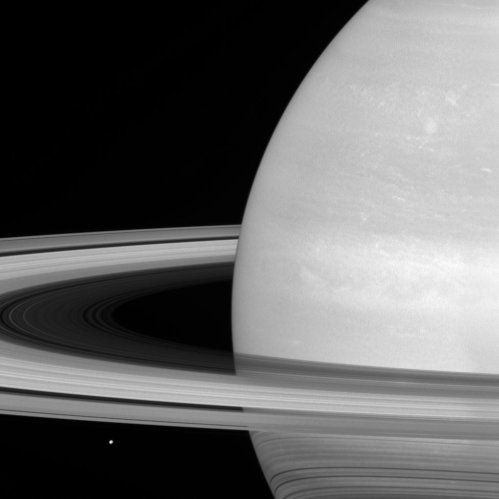 Mimas in context. (That's it next to the rings.) See more Cassini images of Mimas and Saturn's other moons at go.nasa.gov/30meb5D