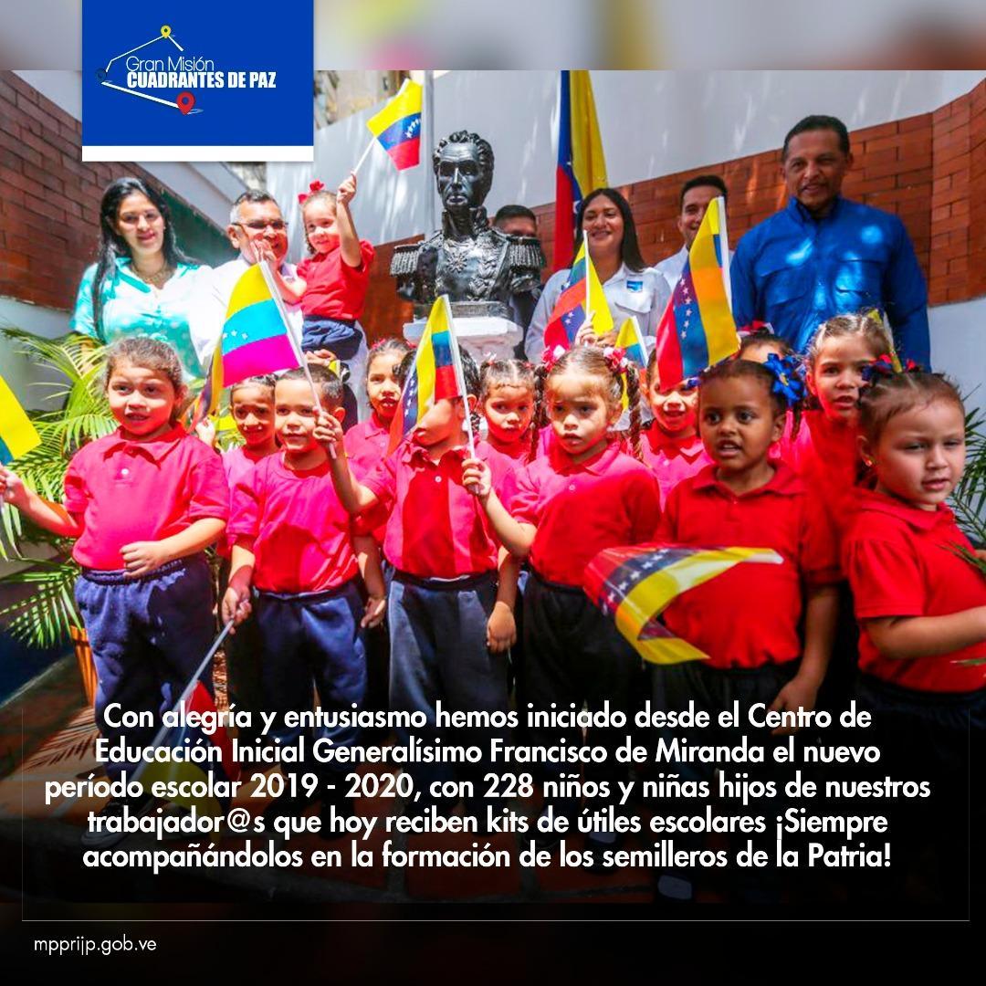 HOY👉 El min @NestorReverol dió inicio al nuevo período escolar 2019 - 2020 desde el Centro de Educación Inicial Francisco de Miranda #17Sep