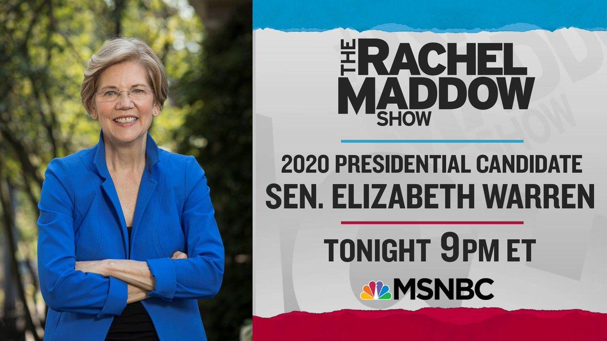 Senator Warren tonight!  Live, in-studio with Rachel Maddow! 9pm ET on MSNBC https://t.co/XiXlJm3nsS