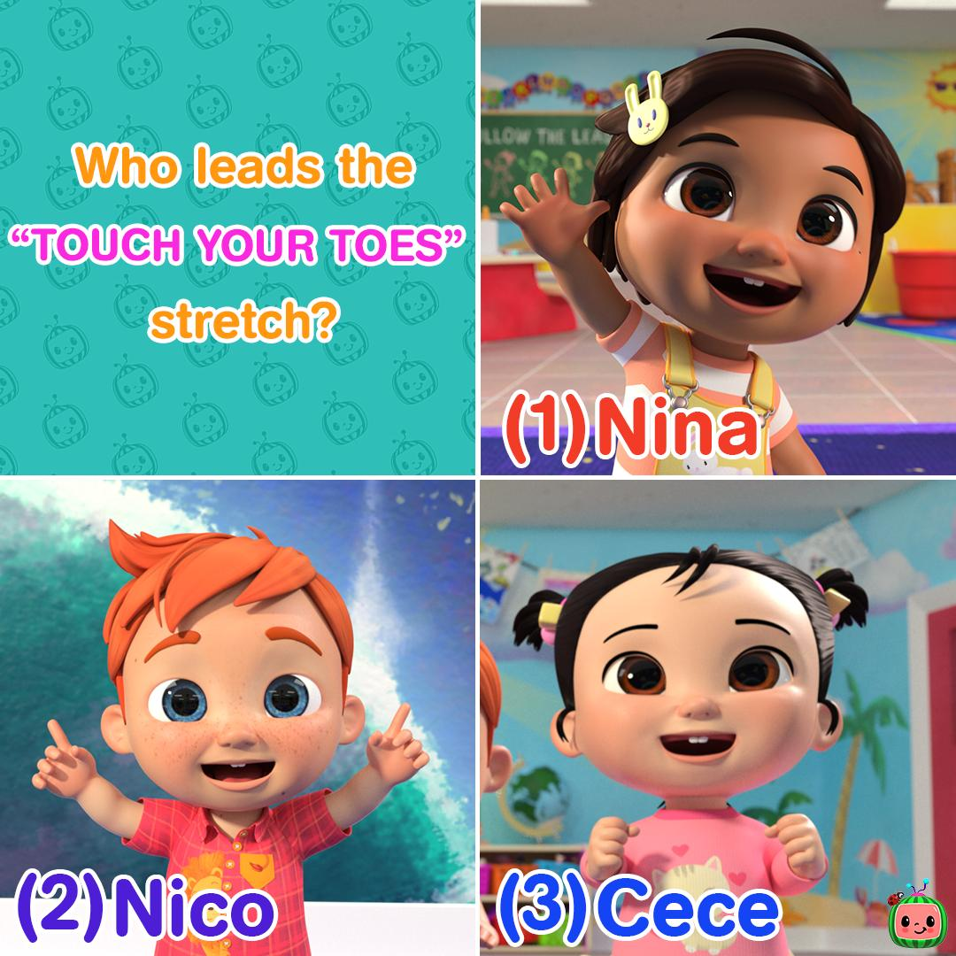 Cocomelon On Twitter Who Leads The Touch Your Toes Stretch 1 Nina 2 Nico 3 Cece Watch The Video To Find Out Https T Co Shoqnz7tvy Don T Forget To Follow Us On Instagram
