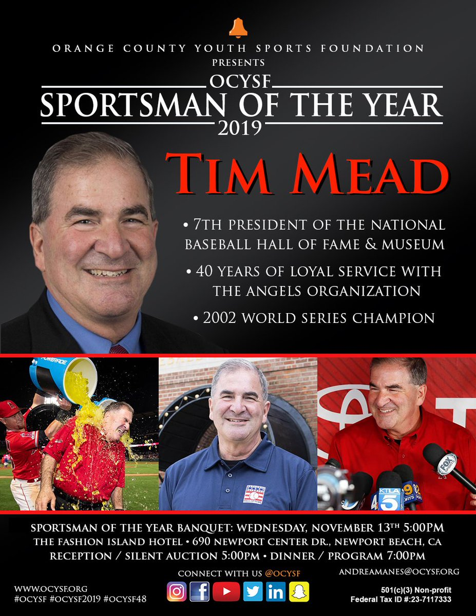It is our honor to recognize Tim Mead as the 2019 #OCYSF Sportsman of the Year! RSVP to join us and be a part of history on 11/13/19. •••RSVP: http://ocysf2019.givesmart.com••• #OCYSF2019 #OCYSF48