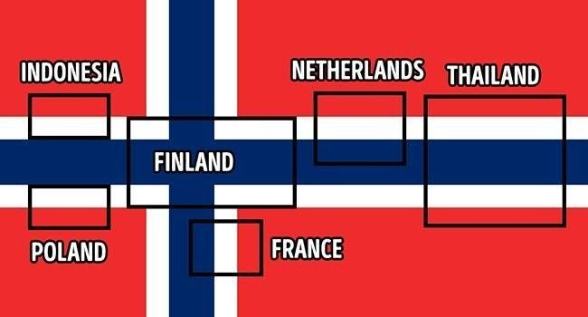 The Norwegian flag is the Swiss Army knife of flags: It contains six other flags!