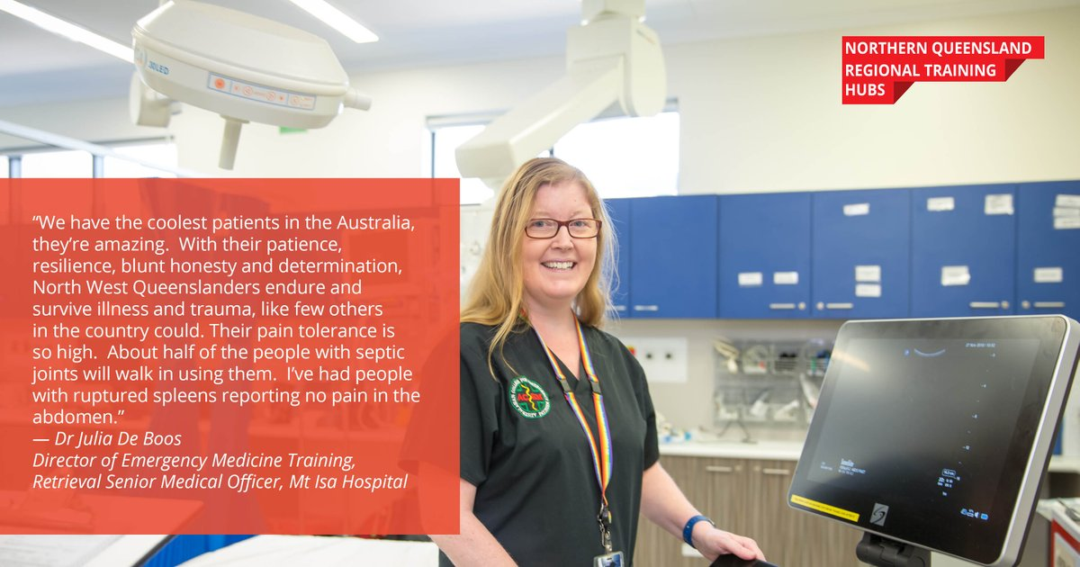 Director of Emergency Medicine Training at the Mt Isa Hospital Dr Julia De Boos says that the hospital provides registrars with a training experience second to none.  #NQRTH #RegionalTrainingHubs  @acemonline @jcu