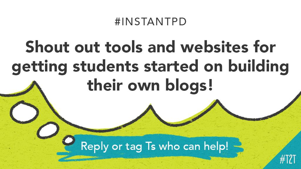 It's blogging time! What websites or platforms might T @cbmurr's middle school Ss use to create their own blogs? #MSchat #EdTech #HackLearning #InstantPD<br>http://pic.twitter.com/mzQh35qc54