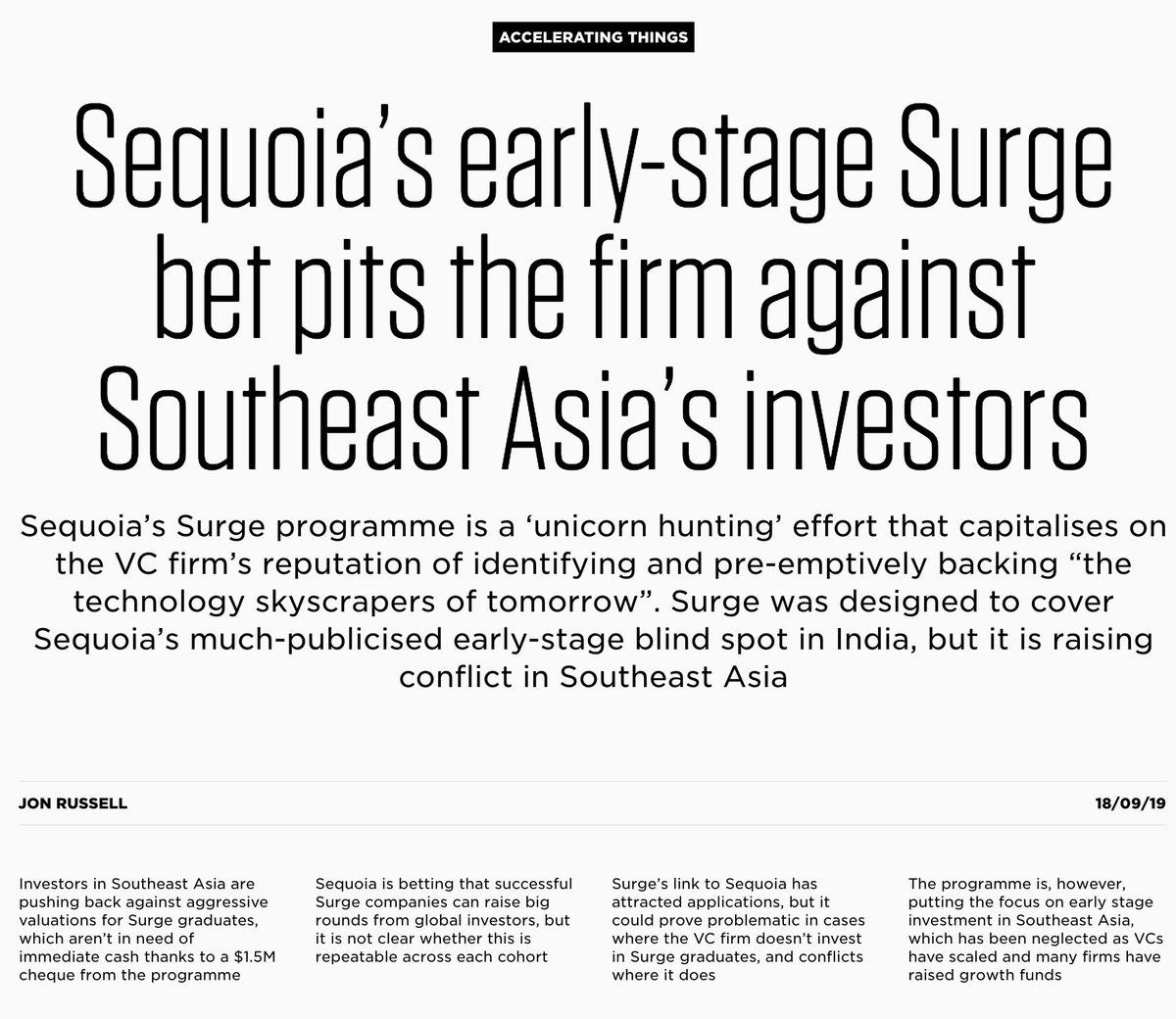Sequoia's Surge accelerator program kicks off its second cohort next week, so what better time to analyse its early impact in SE Asia?In short: it is shaking things up among VCs in the region, and there's plenty to chew over.https://the-ken.com/story/sequoia-surge-bet-southeast-asia… 🔒