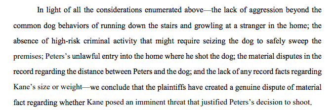 New Sixth Circuit opinion: court rejects qualified immunity for a Michigan police officer who walked into the wrong house without a warrant and shot a dog after it started growling at him opn.ca6.uscourts.gov/opinions.pdf/1…