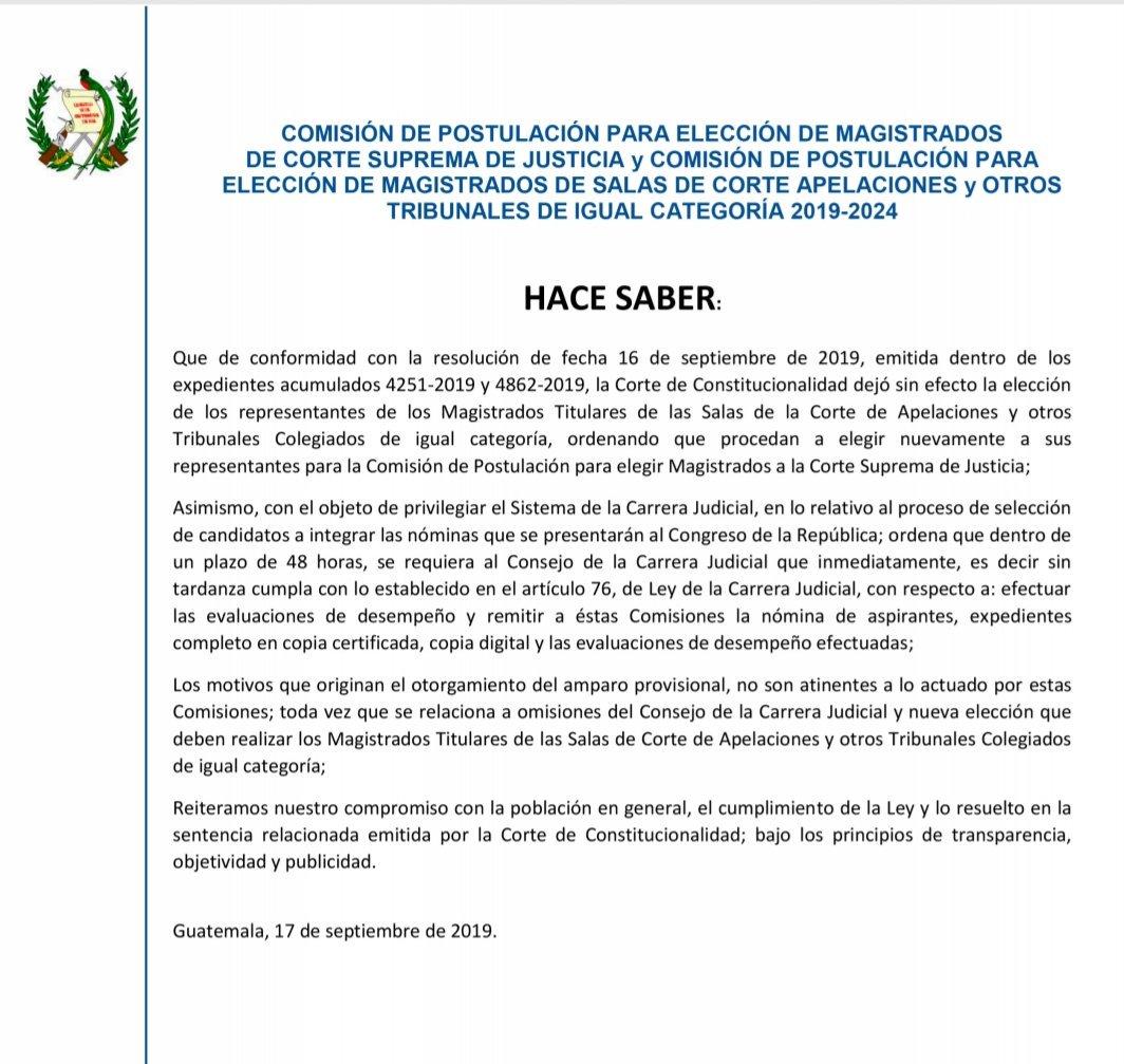 Imagen  Resolución de la Corte de Constitucionalidad (CC) obliga a  reiniciar proceso de Elección de Cortes EEtMvoSXsAEsOVo format jpg name medium