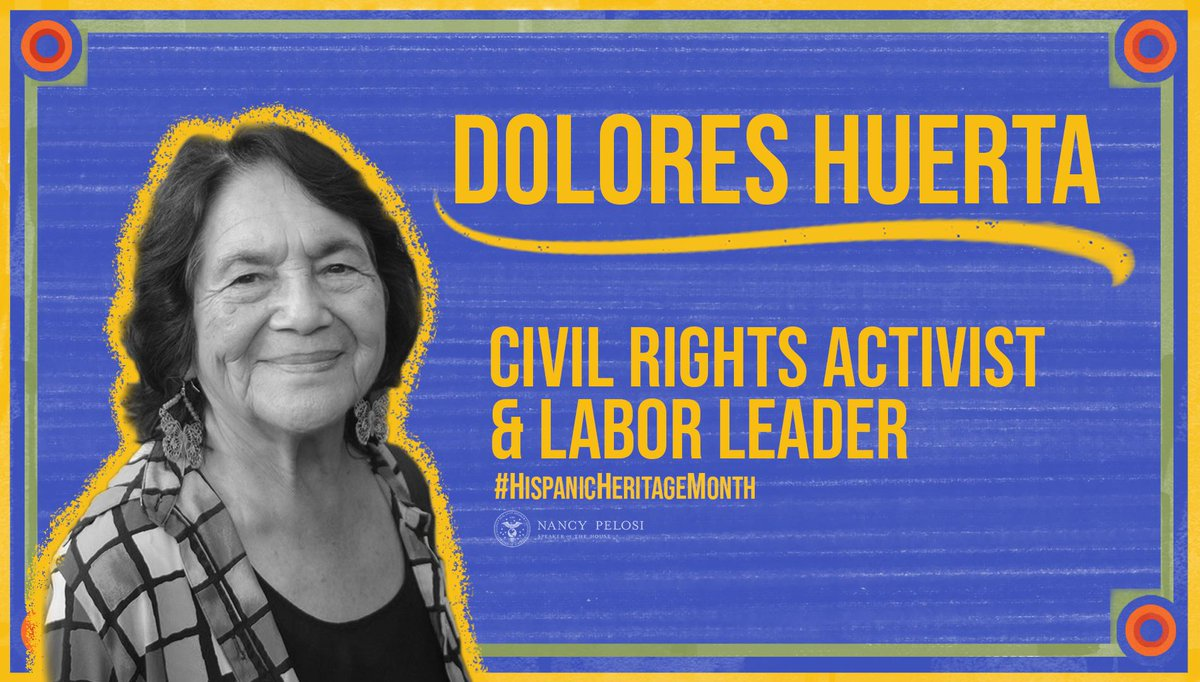 An American legend, Dolores Huerta continues to fight, after seven decades, for the rights of women, farm workers, immigrants and the most vulnerable. Thank you, Dolores. ¡Sí se puede! #HispanicHeritageMonth
