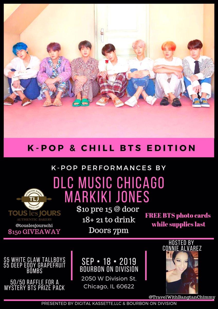 CHICAGO ARMY❗️Tomorrow JK & RM Dance Party🎂BTS Music💜 BTS Raffle Prizes 💜 FREE BTS Photo Cards🎤KPop Performance💃Age 18+ We Purple You @BTS_twt @BigHitEnt  #JUNGKOOK #NamjoonBirthdayProject #jungkookbday2019 #RM2019BDayProject #Ourjooniverse #Happybirthdaynamjoon #BTS #JIMIN