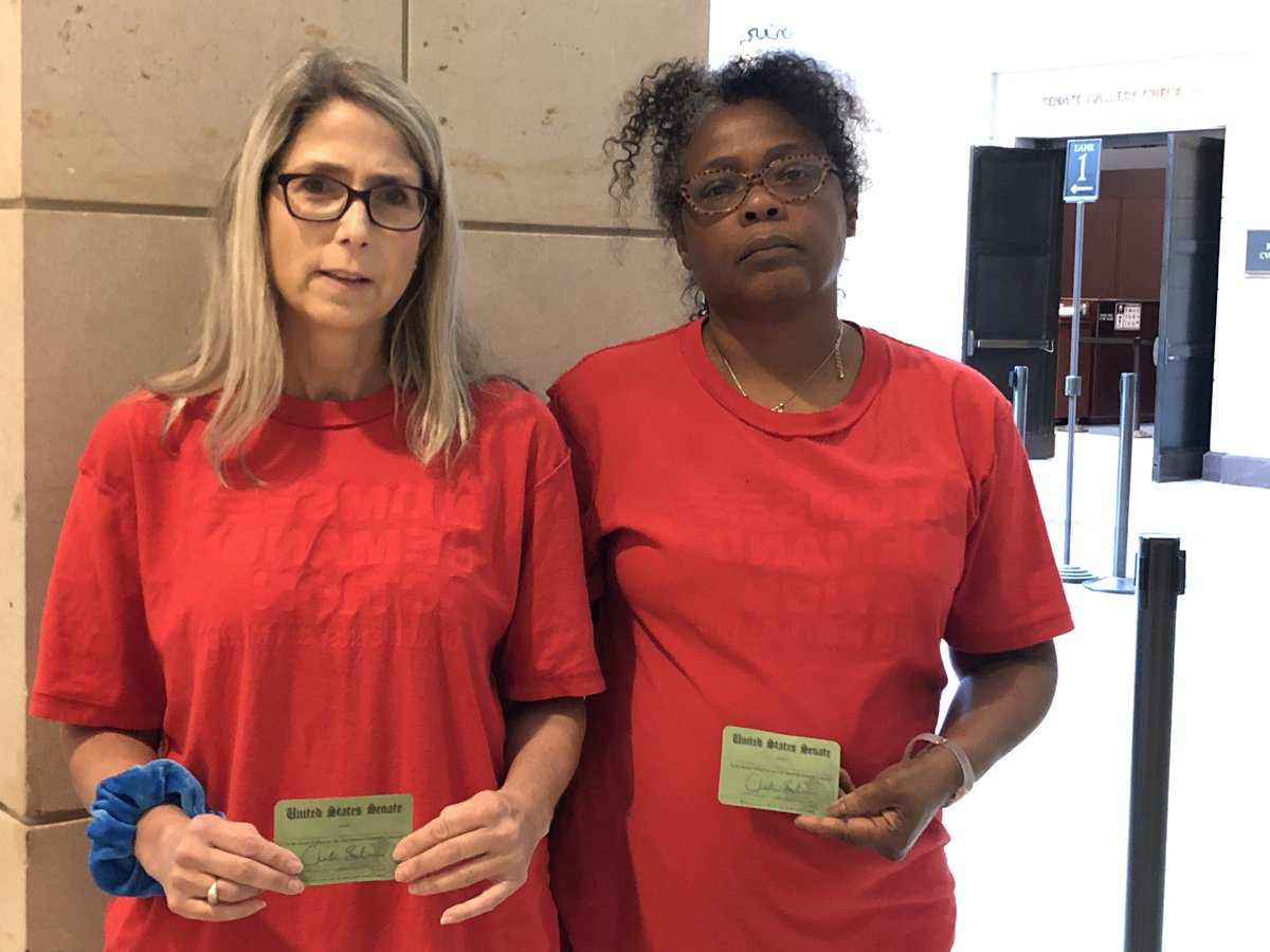 Stopped at the #Senate gallery check in and told to turn our non-partisan @MomsDemand shirts inside out so as not to make a political statement. @shannonrwatts @Everytown #EndGunViolence