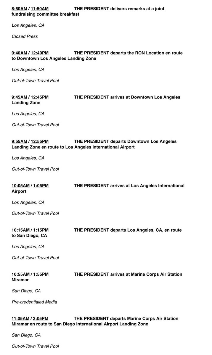 Here's Trump's public schedule for tomorrow. He has added a border visit to his previously scheduled two fundraisers. (Presidents have used such events in part to charge a portion of their otherwise-explicitly-political travel to the public.)