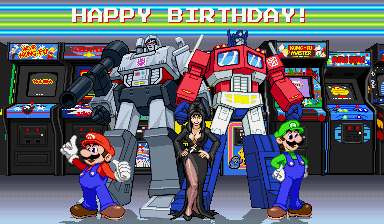 Happy birthday to **looks**, dang, Elvira, Charles Martinet and the original Transformers cartoon!