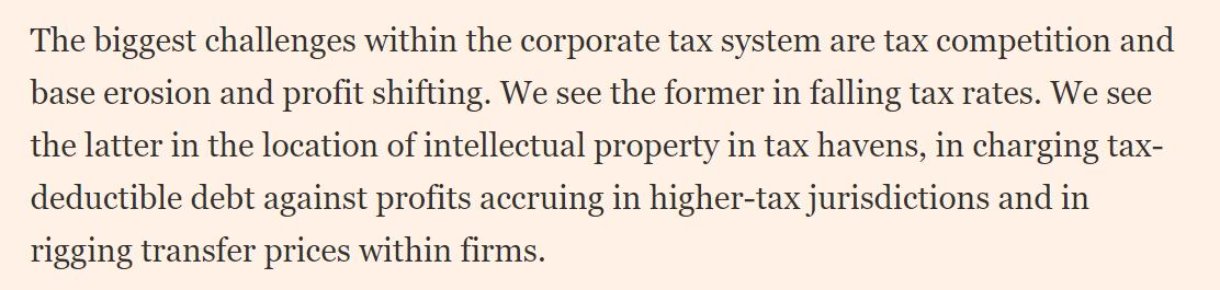 There isn't a compelling economic argument for allowing firms to book profits in (for example) Bermuda, when the actual content isn't created there (and the firms aren't selling to Bermuda's market).