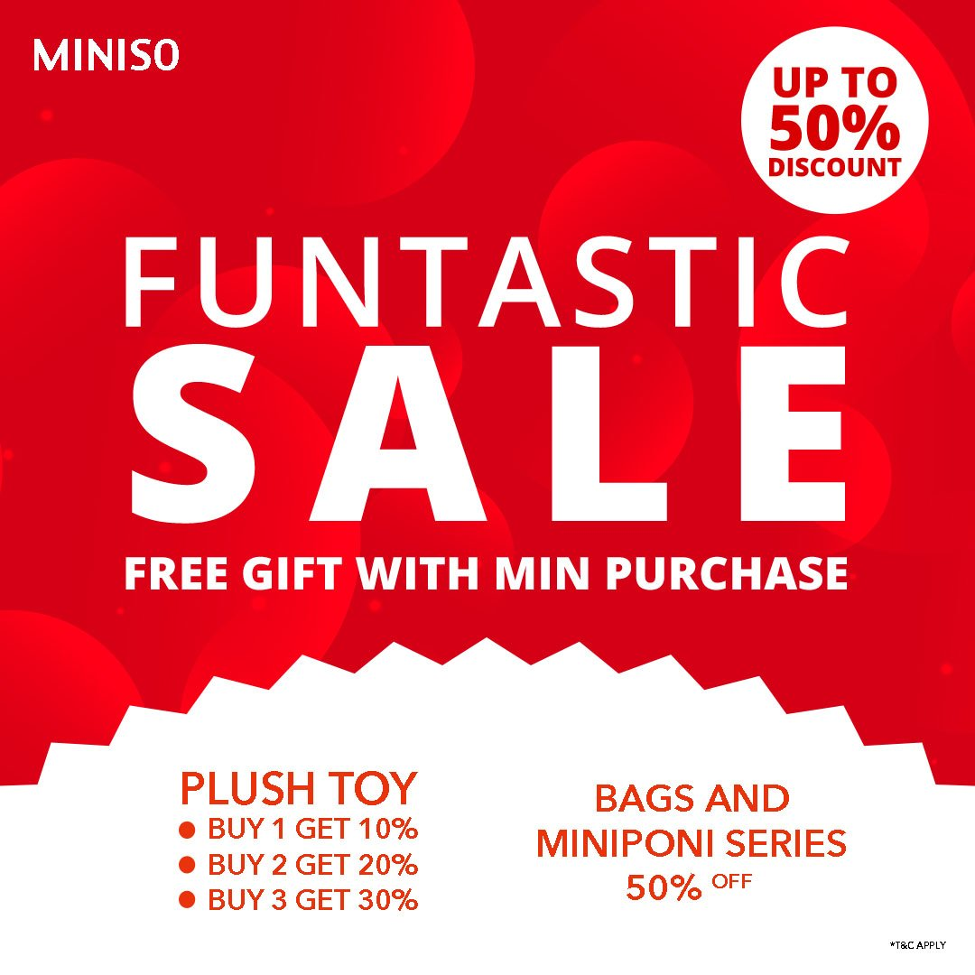 Transstudiomallcibubur On Twitter Warm Greetings From Minisoindonesia Funtastic Sale On Miniso Trans Studio Mall Cibubur Up To 50 Discount Get Your Favorite Plush Toy Bags And Miniponi Series On Our Stores