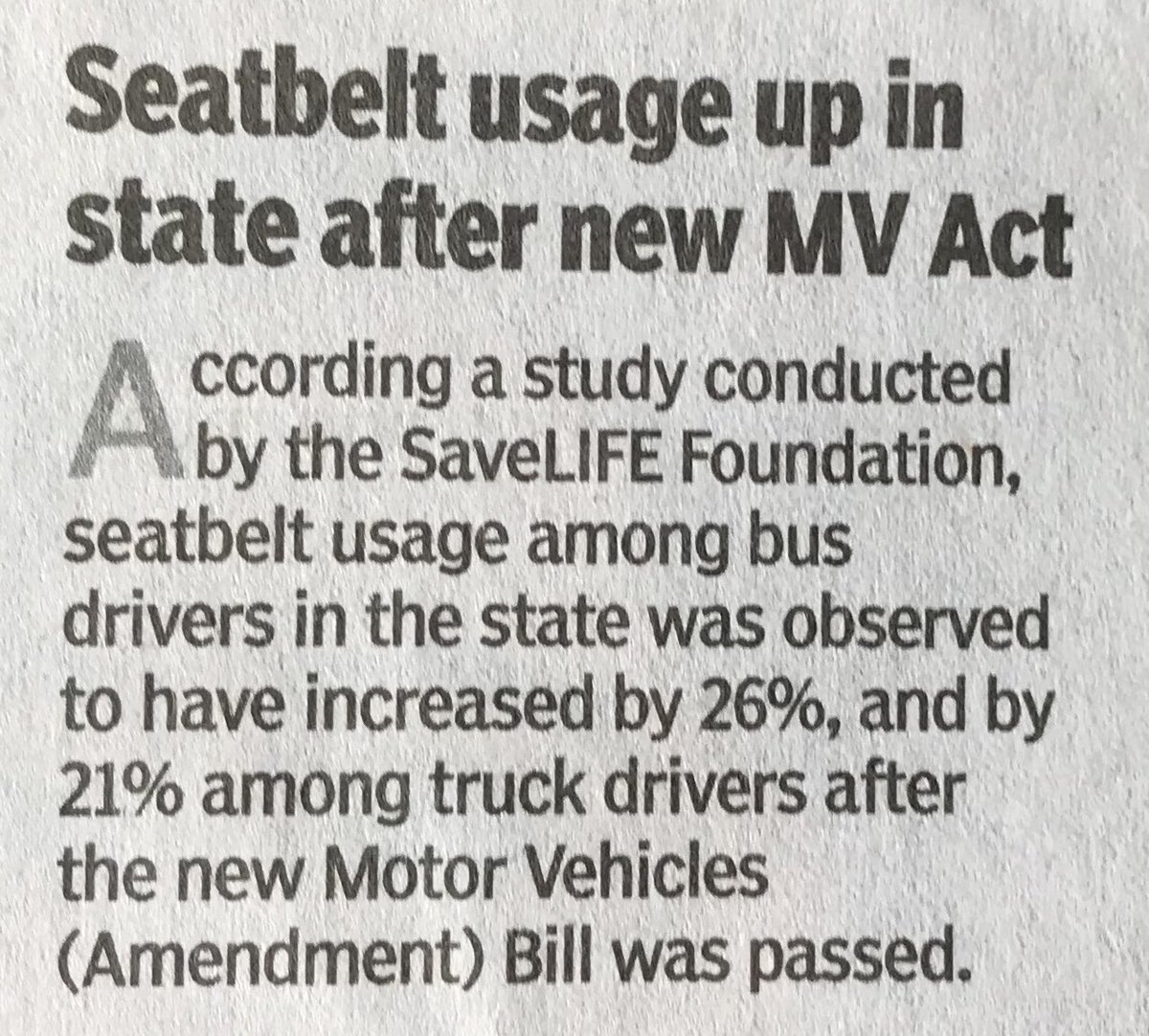 Seatbelt usage up among bus and truck drivers in state after MV Bill was passed. That's a healthy sign. @savelifeindia @silkysparks7 @DRaote @Dev_Fadnavis @mtptraffic @govaleajay @nnatuTOI @UWMumbai @RoadsOfMumbai