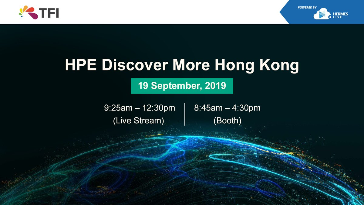 【#HERMESLive】#TFI is entrusted to live stream #HPE Discover More Hong Kong 2019 to the globe. Around 500 customers and partners across Asia Pacific will gather in this premier event. Stay tuned! Link: https://t.co/2JlrX9Pwlj  #live #OneClickGoLive #videotechnology https://t.co/LLXodszvzO