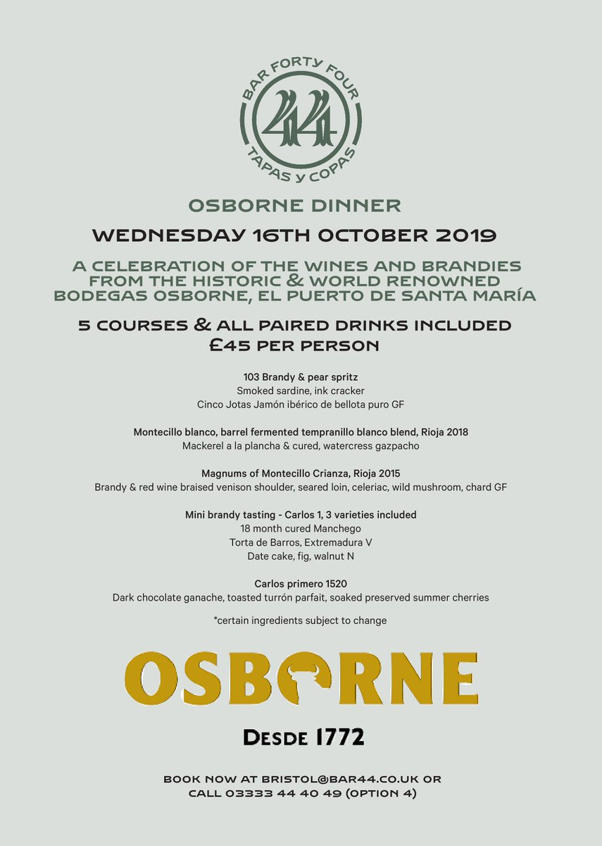 @bar44bristol #Competition #CompetitionTime  We're giving 2 #lucky people the chance to #win a table at this fabulous wine & brandy dinner on 16.10.19 Simply like and retweet this post and follow our page to enter! A winner will be selected at random on the 10.10.19.<br>http://pic.twitter.com/AaEotR2zim