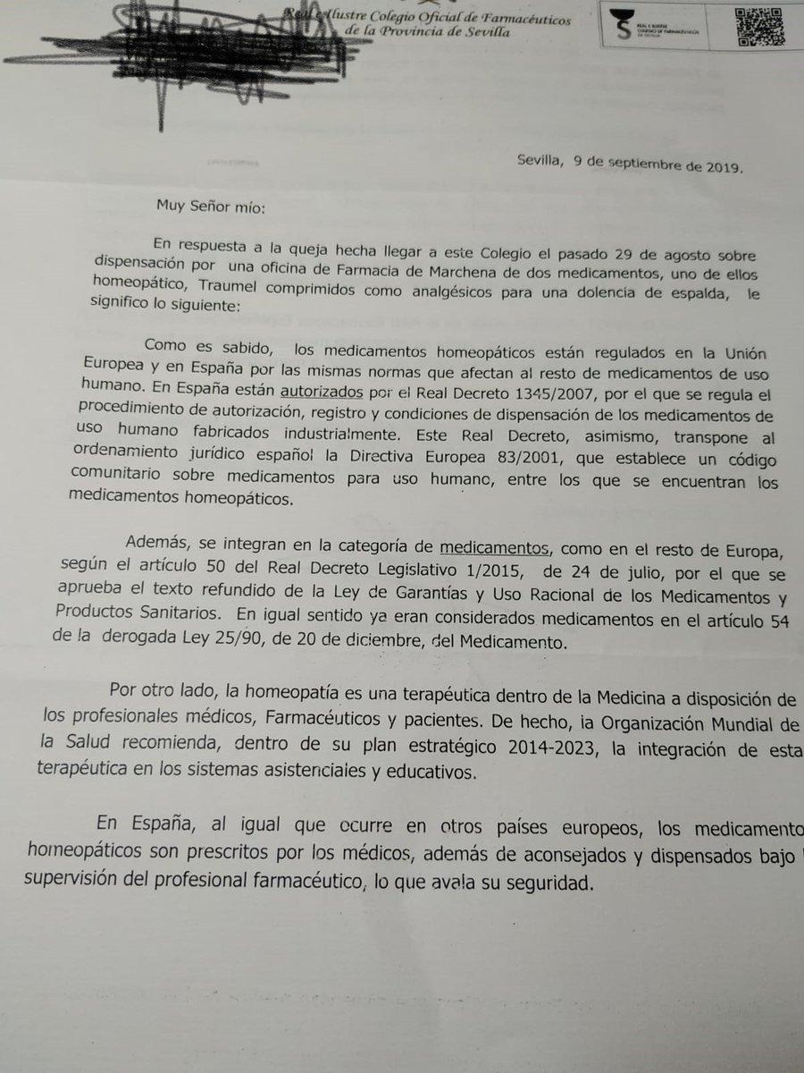 El colegio oficial de farmacéuticos de Sevilla defiende a la homeopatía en una carta