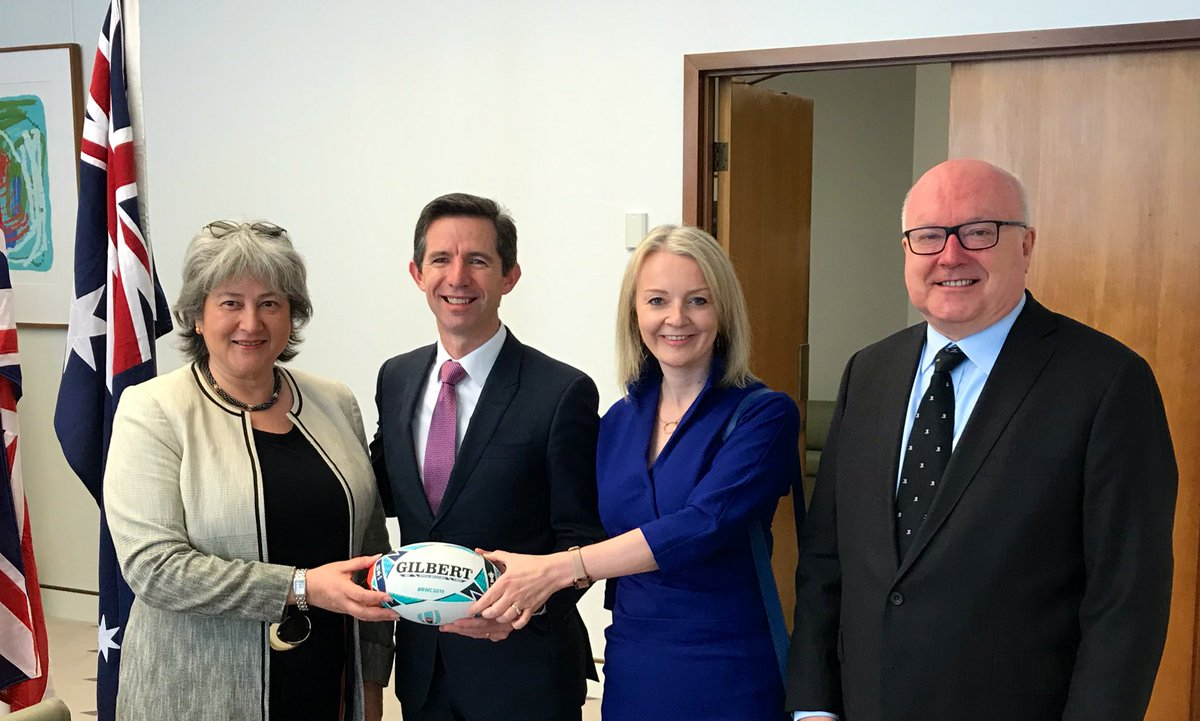 After formalities a moment to share #sporting connections - presentation of a @GILBERT_RUGBY official #rugbyworldcup2019 ball to @Birmo  Our nations will be up against each other again - after the #Ashes2019, & an incredible summer of #cricket, bring on the #rugby #SportIsGREAT<br>http://pic.twitter.com/t12HLATiif