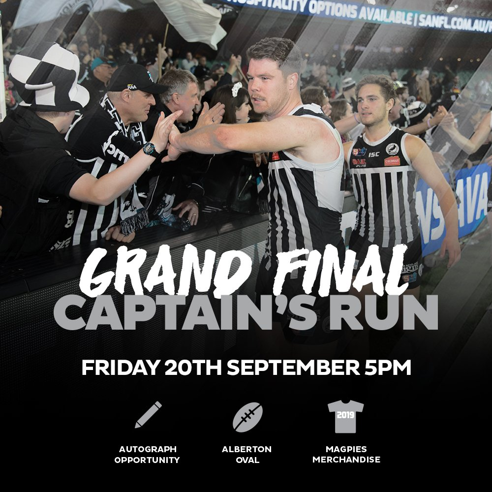 Let's get around the Magpies boys at this evening's Grand Final Captain's Run 👏👏  #weareportadelaide