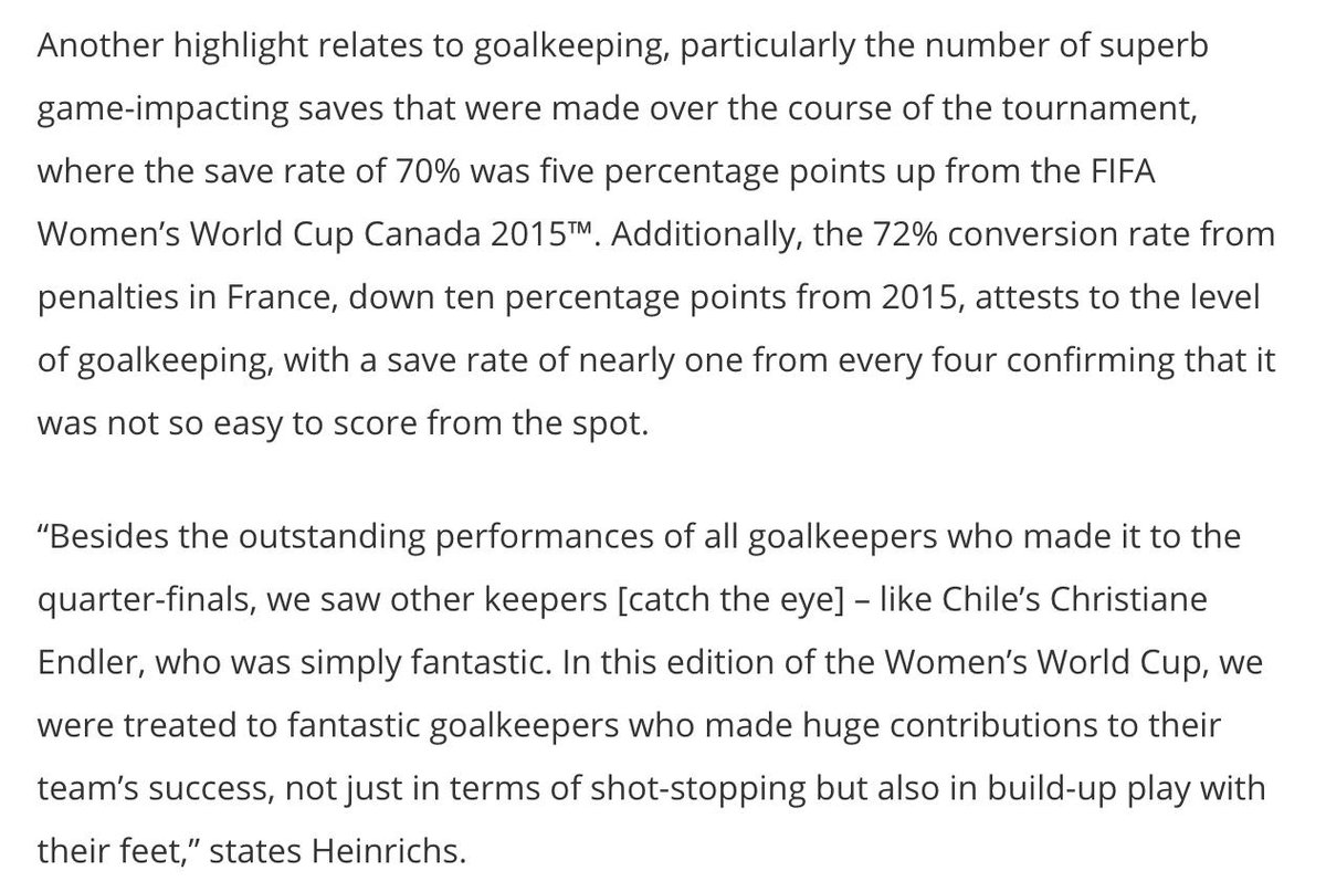 Your HT reading if you haven't already seen the Technical Study Group report from.Goalkeepers called out specifically for improvements which should make @mollyappleton93 very happy #FIFAWWC