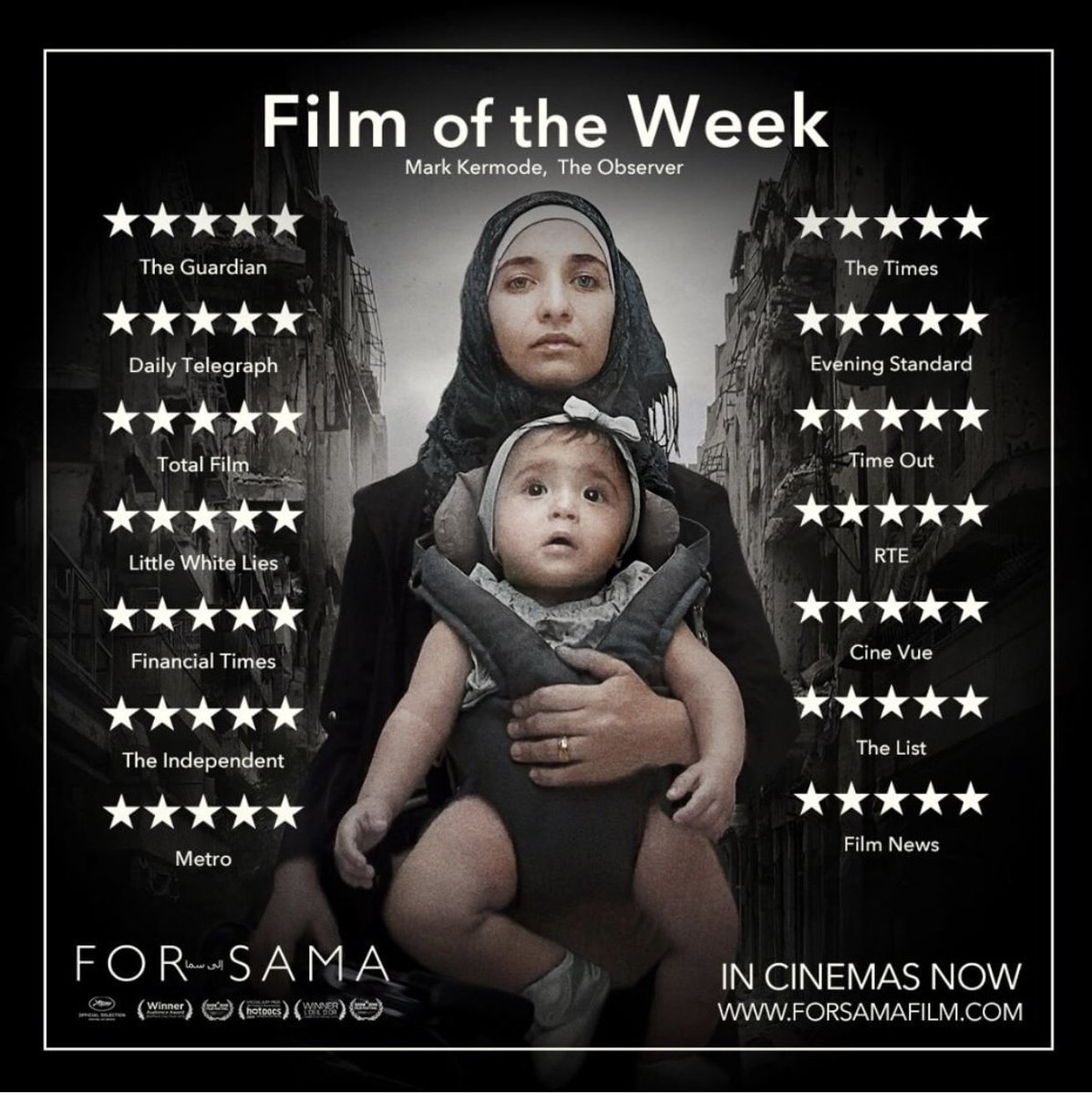 Tonight Leeds 6.20pm @HydeParkPH #ReclaimTheFrame screen @forsamafilm by @waadalkateab and @watts_edward - & A&Q with exec producer & dep. editor of @Channel4News, @NevMab and Dr Mustafa Alachkar a psychiatrist from Aleppo from @Rethink_Rebuild hydeparkpicturehouse.co.uk/film/for-sama