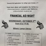 Image for the Tweet beginning: Financial Aid Night here on