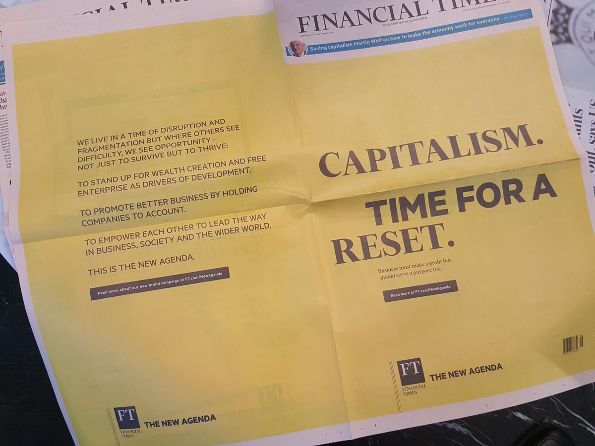 Couldnt agree more - Capitalism, time for a reset - business must make a profit but should serve a purpose too. The question is how, and the @BritishAcademy_ #futureofthecorporation is working on the answer. thebritishacademy.ac.uk/programmes/fut… #ftnewagenda @FT #colinmayer