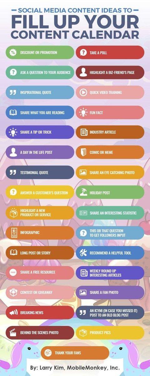 test Twitter Media - Geen idee wat je nu meer op social media moeten posten? Wellicht heb je iets aan deze ideeën om jouw content marketing kalender mee te vullen. #marketing #marketingstrategie #digitalmarketing #contentmarketing #seo #content #marketinginfographic #infographic https://t.co/8FD9Uccx1P