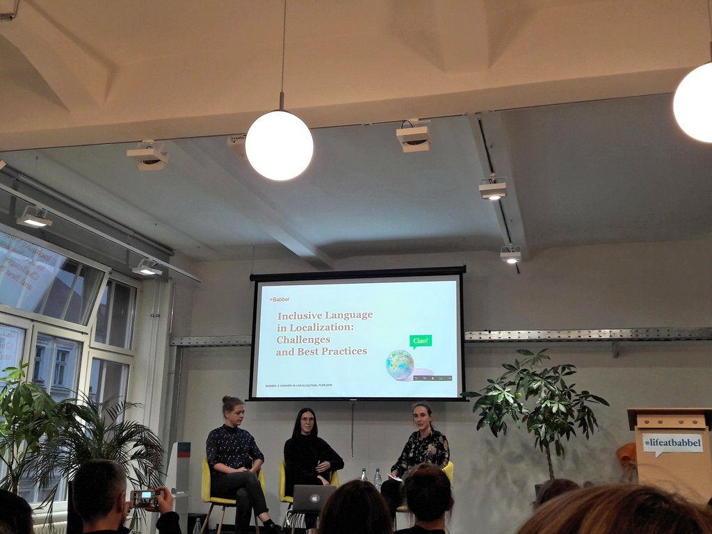 Yesterday's @WomenInL10N event at Babbel. Very interesting discussion about #inclusivelanguage and its challenges! #WLGER #WomeninL10N <br>http://pic.twitter.com/ziMlsfqgMU