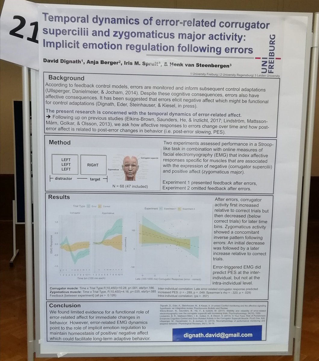 #mcc2019 participants, come and see the cool poster on the affective valence of errors and its regulation presented by David Dignath at today's poster session @MCC_2019