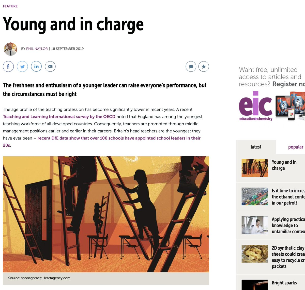 My latest article for @RSC_EiC on #promotion . Mentions for @mathsmrgordon @MaryBoustedNEU @educationgovuk @GavinWilliamson @CharteredColl through #ecf as well as @jon_severs @tes #education #recruitment Young and in charge eic.rsc.org/feature/young-…
