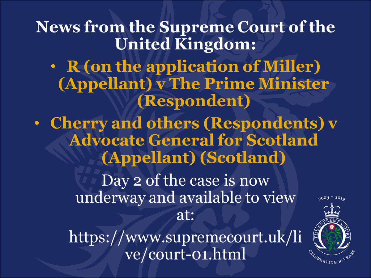 Day 2 of R (on behalf of Miller) v The Prime Minister and Cherry and others v Advocate General for Scotland is now underway. More information about the case and how to watch online is available on our website: supremecourt.uk/brexit/index.h…