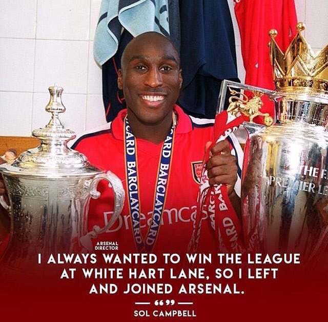 Double double double. Sol Campbell has won the double....  Happy birthday