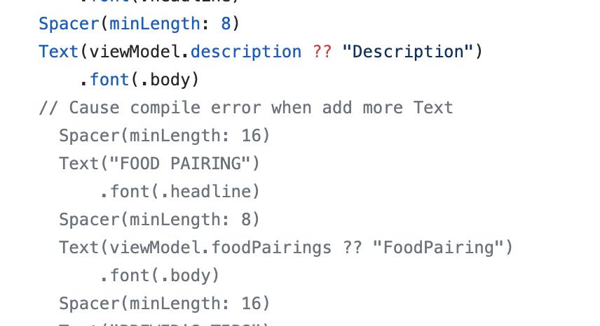 自分でSwift UI触ったときにCompile errorになったの、中に入れすぎたからっぽいな。。