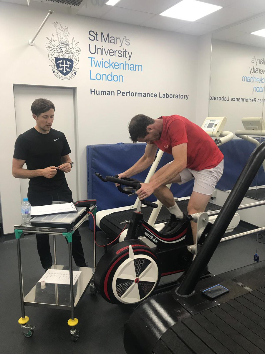 Great to see @andy_murray training hard for the Shanghai Masters in the @StMarysSHAS performance lab with @the_hough from @StMarys_Health @StMarysSportSci @SportHealthServ