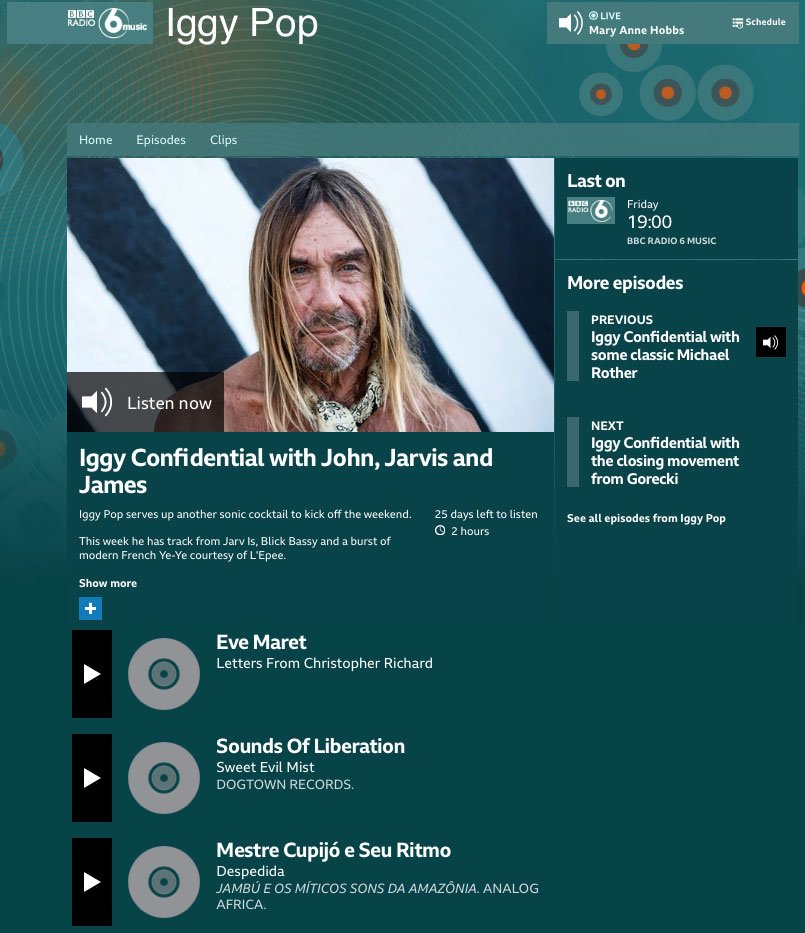 The sweet sound of #SweetEvilMist by #SoundsOfLiberation, cloaking the airwaves thanks to @IggyPop on @BBC6Music #DogtownRecords #ThreePinPRpic.twitter.com/s7F1oaCUNP